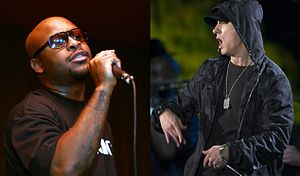 "Bad Meets Evil - Bad Meets Evil consists of the rappers Royce da 5'9"" (left) and Eminem (right)."