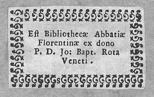 Badia Fiorentina - Ex libris from the library of Badia Fiorentina