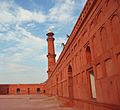 Badshahi Mosque internal view right corridor's outer wall.JPG