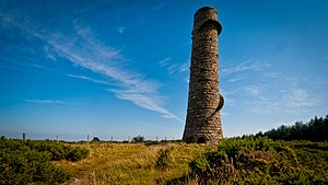 Carrickgollogan - The ruin of the flue chimney at Ballycorus Leadmines