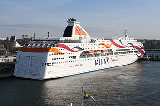 Tallink - Baltic Queen in dock in Tallinn.