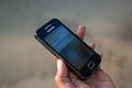 Bangalore Wikipedian on phone 4 closeup.jpg