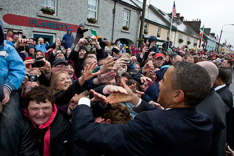 Barack Obama shakes hands in Moneygall.jpg