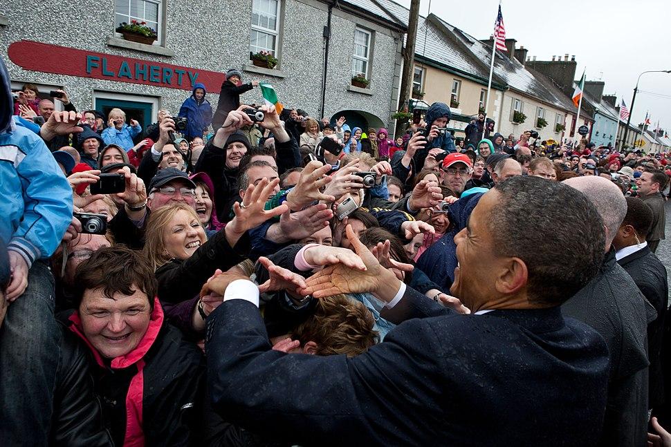 Barack Obama shakes hands in Moneygall