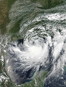 Satellite image of Barry intensifying over the Gulf of Mexico on July 12