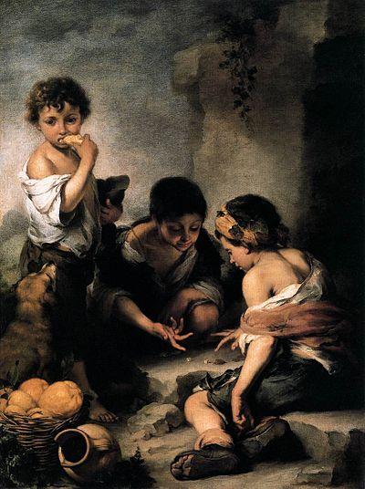 Enfants jouant aux dés