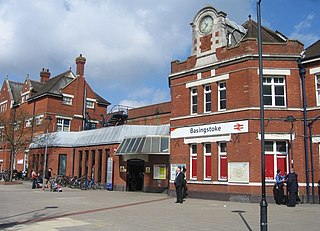 Railway station in Basingstoke, Hampshire, England