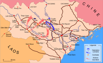 Battle of Nghĩa Lộ (1952) - Showing Nghĩa Lộ, Gia Hoi and Tu Le and subsequent Operation Lorraine and Nà Sản