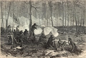 Battle of Ezra Church - Engraving of the battle by Theodore R. Davis for Harper's Weekly