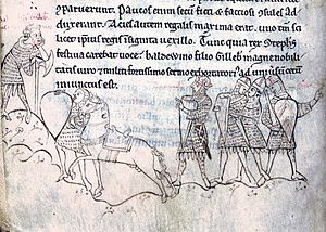 The Anarchy - Near contemporary illustration of the Battle of Lincoln; Stephen (fourth from the right) listens to Baldwin of Clare orating a battle speech (left)
