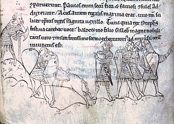 Contemporary depiction of the Battle of Lincoln in the Historia Anglorum