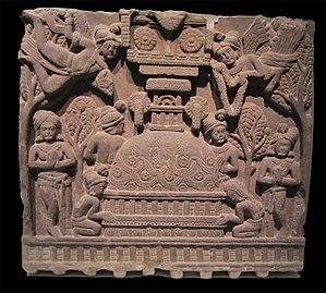 Bharhut - The Bharhut stupa, depicted on one of the friezes.