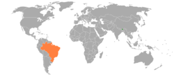 Map indicating locations of Bhutan and Brazil