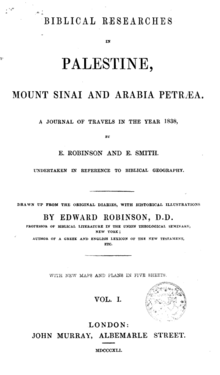 Biblical Researches in Palestine, Mount Sinai and Arabia Petrea front cover.png