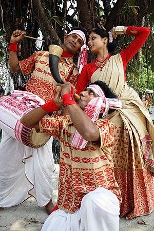 Culture of Assam - A group of Bihu dancers.