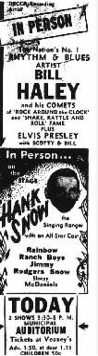 Bill Haley & His Comets - BillHaley/Elvis/HankSnowTicket - Oklahoma City newspaper ad. for Sunday October 16, 1955; two shows at the Municipal Auditorium. Note: Elvis Presley's first appearance to be co-promoted (with Hank Snow) by Colonel Tom Parker.