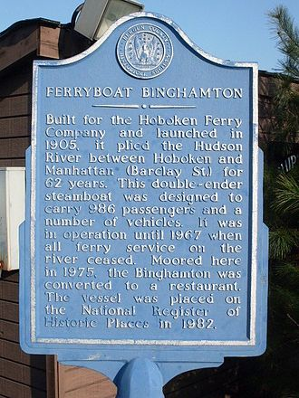 Edgewater, New Jersey - Plaque at site of Binghamton Ferry