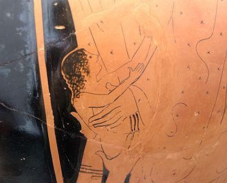 Erichthonius of Athens - Birth of Erichthonius: Athena receives the baby Erichthonius from the hands of the earth mother Gaia, Attic red-figure stamnos, 470–460 BC, Staatliche Antikensammlungen (Inv. 2413)