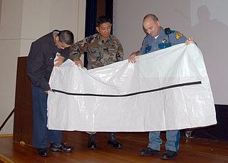Body bag bag designed to contain a human body