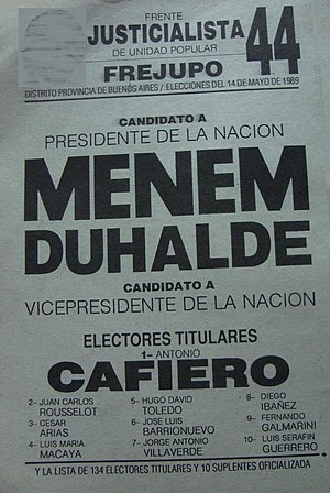Eduardo Duhalde - Ballot of the Justicialist Party for the 1989 presidential elections