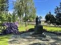 Borgheim, Nøtterøy, Norway. Minneparken anlagt 1950, WW2 Memorial statue by Carl E. Paulsen, Nøtterøy kirke (church), Fylkesvei 308, Rhododendron, birch trees, summer etc. 2021-06-16 IMG 4320.jpg