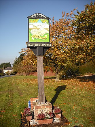 Bradfield Combust - Village sign, bearing the name of Arthur Young (1741–1820)