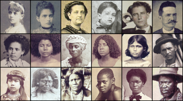 19th-century Brazilians. 1st row: White Brazilians. 2nd row: Brown Brazilians (left to right: two female mulattoes, two female cafuzos and a caboclo girl and man). 3rd row: three Brazilian Indians of different tribes followed by Afro-Brazilians of distinct ethnic background Brasileiros do seculo XIX.png