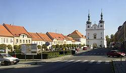 Breznice PB CZ town square SS Francis and Ignatius church 615.jpg
