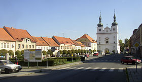 Breznice PB CZ town square SS Francis and Ignatius church 615.jpg