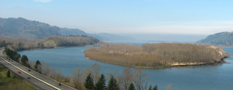Bridal Veil Falls (Oregon) - View of the Columbia River Gorge from Bridal Veil Falls State Scenic Viewpoint.