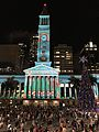 Brisbane City Hall During Christmas light show in 2016, 01.jpg