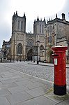 Bristol. Deanery Rd. Cathedral, Abbots Gatehouse and Post box.jpg