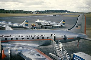American Overseas Airlines - Douglas C-54 N90905 at Bromma Airport in Stockholm 1947.