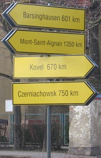 Brzeg Dolny - Signpost of twin towns.