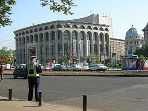 Crime in Romania - A Romanian policeman outside the National Theatre in Bucharest.