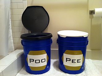 Bucket toilet - A two bucket urine diversion system: one bucket is for urine, the other one for feces.