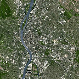 Budapest - Satellite imagery illustrating the core of the Budapest Metropolitan Area
