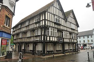 Evesham - This twin gabled 15th-century timbered merchants house is now occupied by NatWest bank.