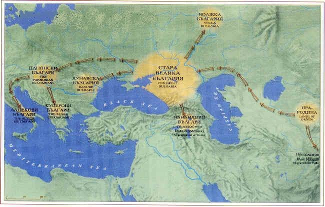 Bulgar subsequent migrations in Europe.