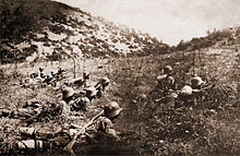 Photograph of Bulgarian soldiers cutting enemy barbed wire during World War I