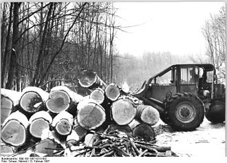 Economy of the German Democratic Republic - Suhl, 1987: Forestry cooperative workers extracting wood from the Thuringian forests