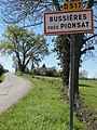 Bussières-près-Pionsat (Puy-de-Dôme) city limit sign.JPG