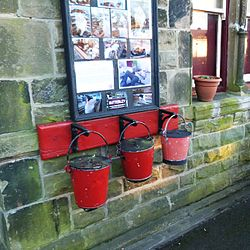 Butterley railway station, Derbyshire, England -three buckets-19Jan2014.jpg