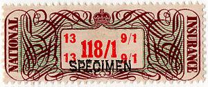 Revenue stamps of the United Kingdom - A high value National Insurance stamp overprinted SPECIMEN
