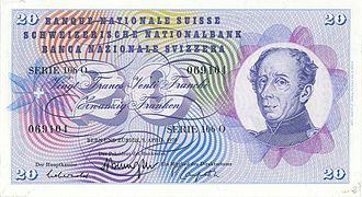 Guillaume Henri Dufour - 20 francs note (1956)