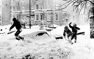 1967 Chicago blizzard - Children playing in the snow after the 1967 blizzard