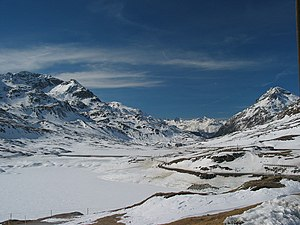 Bernina Pass - View from the top of the pass in the direction of Pontresina, Switzerland