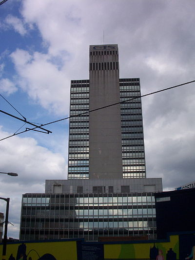 The mosaic-clad tower in 2002 CIS Tower tiled in 2002.jpg