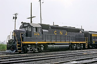 EMD GP40-based passenger locomotives - GP40P 3676 operating on the Central Railroad of New Jersey.