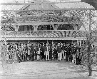 Sultanate of Siak Sri Indrapura - The inauguration of Hashim Abdul Jalil Muzaffar Shah as Sultan of Siak in 1889 in the presence Resident of North Sumatra W.J.M. Michielsen, chief police Van der Pol and assistant resident Schouten.